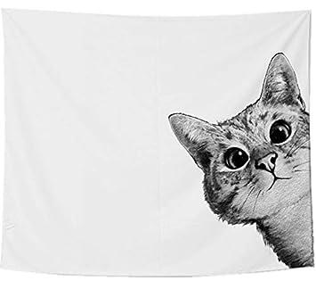 Lienzo de Tela diseño de Gato Curious Cat; decoración de Interior Monochrome Design y Ultra