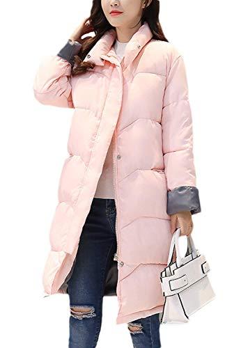 Huixin Mujer Plumas Elegante Color Sólido Colmar Cálido Pluma Otoño Invierno Modernas Chaqueta Acolchada Largos Manga Larga High Collar Cremallera Abrigos Abrigos Invierno Pink
