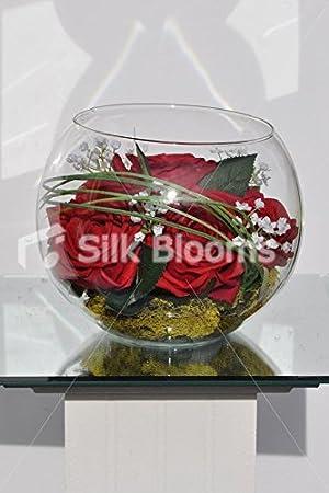 Chic Moderno Rojo de rosa y gypsophila pecera arreglo de mesa con oso Hierba & Verde