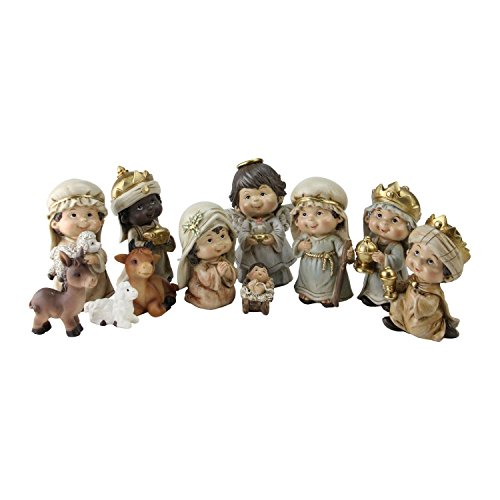 Northlight QR01730 Christmas Nativity Figure Set with Gold Accents -