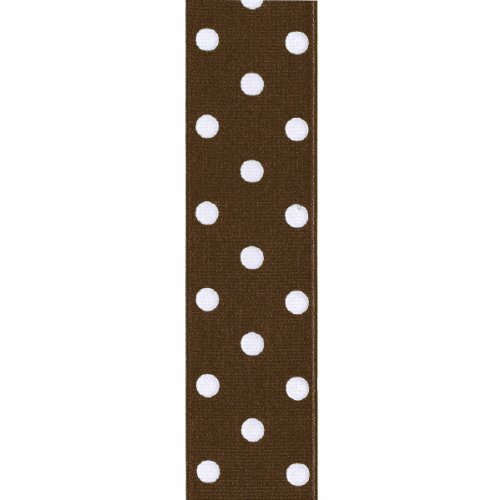 Offray Grosgrain Polka Dot Craft Ribbon, 1 1/2-Inch x 9-Feet, Brown
