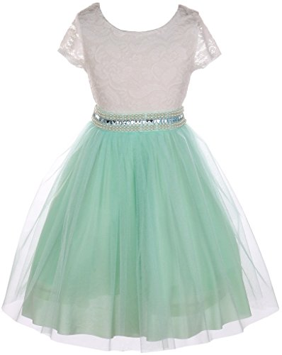 Big Girl Cap Sleeve Lace Top Tulle Stone Belt Flower Girls Dresses (20JK45S) Mint 8