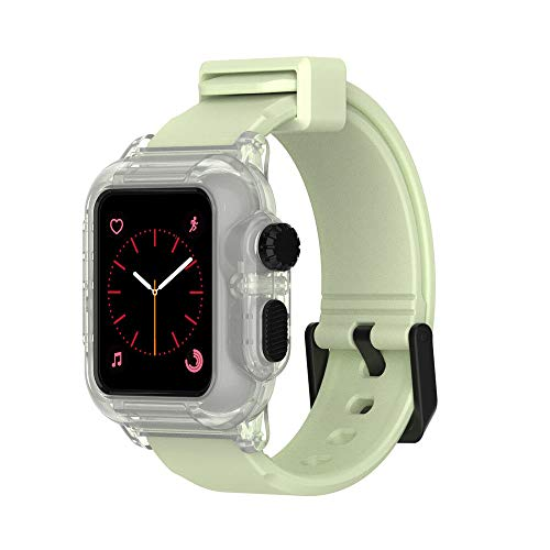 Compatible Apple Watch Waterproof Case 42mm Series 3 & 2,iWatch Heavy Duty Shockproof Impact Resistant Creative Watch Case with Premium Soft Silicone Band (Glow in -