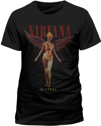 Live Nation Mens Nirvana In Utero Crew Neck Short Sleeve T Shirt Medium Black