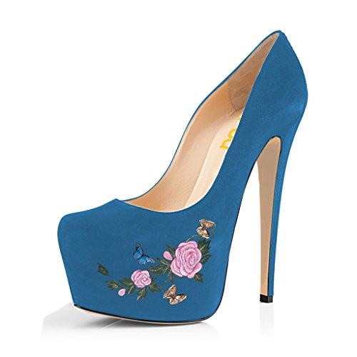 Kompani Kvinnor Trendiga Spetsiga Tå Pumpar Halka På Stilettos Höga Klackar Klänning Dansar Skor Storleks 4-15 Oss Blå Blommor