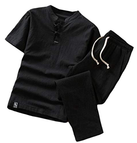 Generic Mens Chinese Style Linen Short Sleeve Top Two Pieces Set Pants Sweatsuit Black 2XL