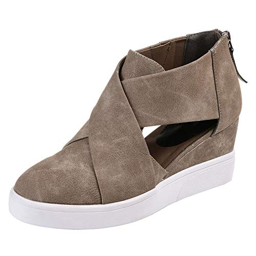 Kauneus  Women's Concise Criss-Cross Cut-Out Wedge Sneakers Comfortable Back Zipper Shoes Khaki