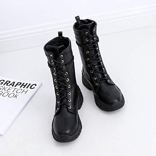 Olici Olici Olici Damen- Elegante Stiefel mit Dicker Unterseite 5 cm Schwarz 68b0b2