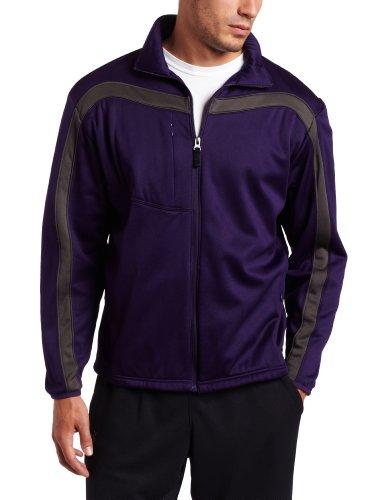Antigua Men's Viper Full Zip Jersey Fleece Long Sleeve Fleece, Dk Purple/Gunmetal, (Antigua Fleece)