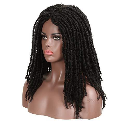 FASHION IDOL 21 Synthetic Long Dreadlock Wig Natural Black Curly Rolls Twist Braids Wig Faux Locs Braids Hair Wig African American Wigs for Black Women (1B)