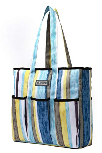 Malirona Pocket Multi-Pocket Tote Bag, 6 Exterior Pockets, Interior Zipper Pocket, Two Handle Lengths, Water Resistant, Wipes Clean, Zips Closed (Sky stripe)