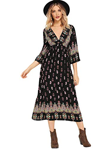 DIDK Women's Casual Floral Print V Neck 3/4 Sleeve A Line Dress Black S