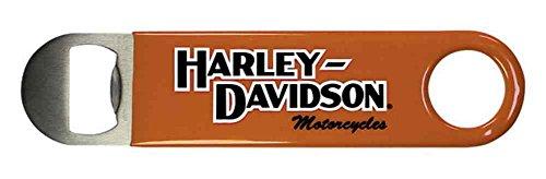- Harley-Davidson Bottle Opener, H-D Script Stainless Steel & Orange Vinyl BO10338