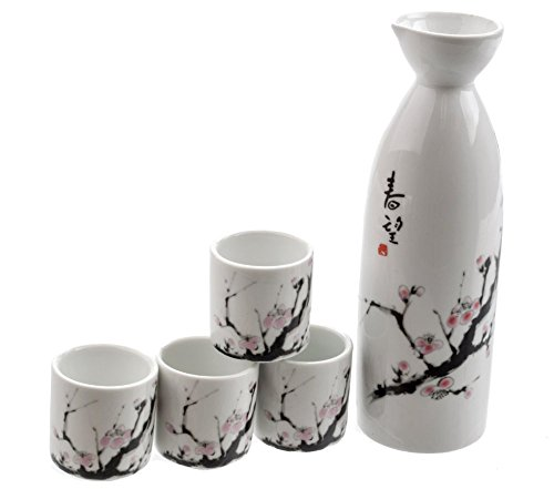 - M.V. Trading MVSS-001 Porcelain Sake Set with Cherry Blossom, White with Large Sakura Flower, 6 Ounces Bottle / 1 Ounces Cups