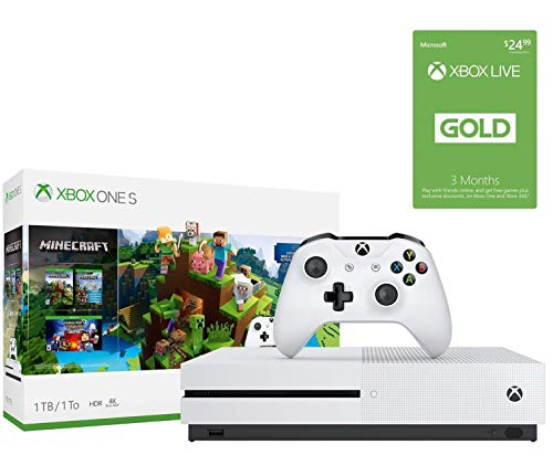 Xbox One S 1TB Minecraft Creators w/Xbox Live 3-Month Gold Membership: 1TB Xbox One S White Console, Wireless Controller, Xbox Live 3-Month Gold Card, Minecraft, Minecraft Starter, Creators Pack