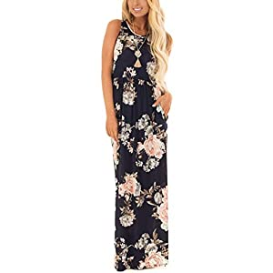 ZZER Women's Sleeveless Floral Racerback Loose Swing Casual Tunic Beach Long Maxi Dresses with Pockets (Navy Flower…