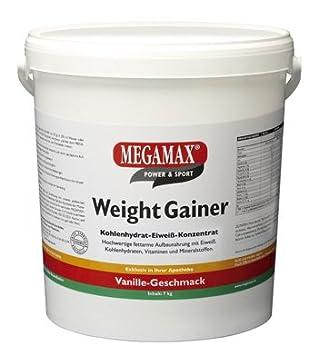 MEGAMAX - Weight Gainer - Suplemento para ganar peso y masa muscular - Vainilla - Solo un 0,5% de grasa - 7 kg: Amazon.es: Deportes y aire libre