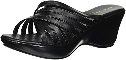 Athena Alexander Women's WILLAMENA Wedge Sandal, Black, 8 M US