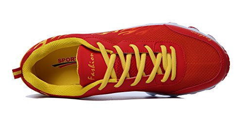 WELMEE Damen Herren Bequeme Breathable Turnschuhe Leichtes Jogging Athletic Tennis Laufschuhe rot