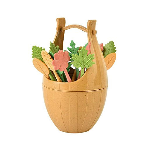 Fullfun Leaves Fruit Fork Set With Wooden Barrel Holder, Creative Home Decoration (B)