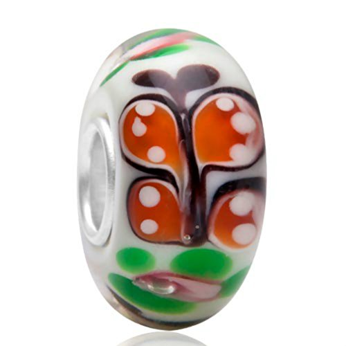 Murano Glass Butterfly Bead Lampwork European 925 Silver Charm Fits European Brand Charms