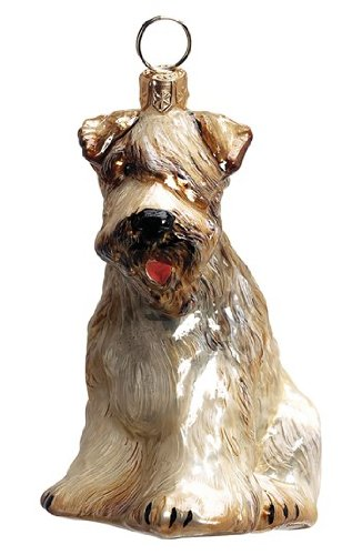 Joy to the World Collectibles European Blown Glass Pet Ornament, Soft Coated Wheaten Terrier (Terrier Ornament Wheaten)