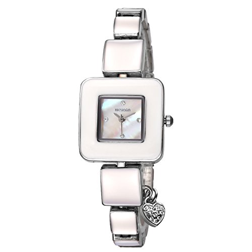 AStarsport Women Ladies Classical Casual Cute Square case Shell Dial with Rhinestone Love Pendant Women's Dress Watches Fashion Wrist Watch Rose Gold Silver by Astarsport (Image #7)
