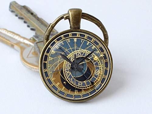 Art Picture Key Chains,Clock keychain Prague clock key ring Clock jewelry Steampunk key chain Clock pendant Steampunk gift Steampunk keyring Old clock Antique,Gift of love
