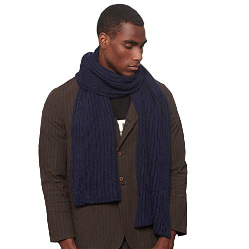 CACUSS Men's Long Thick Cable Cold Winter Warm Scarf Soft Knitted Neckwear (One size, Navy) - Cable Scarf Easy