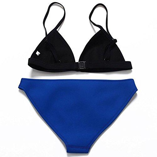 Mujeres Triángulo Cintura baja de dos Colores Costura Bikini Moda Traje de Baño A