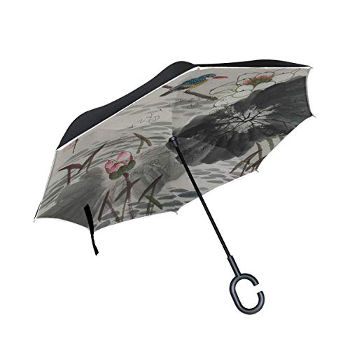 All agree Reverse Umbrella Hand Painted Beautiful Chinese Lotus Painting Inverted Umbrella Reversible for Golf Car Travel Rain Outdoor Black