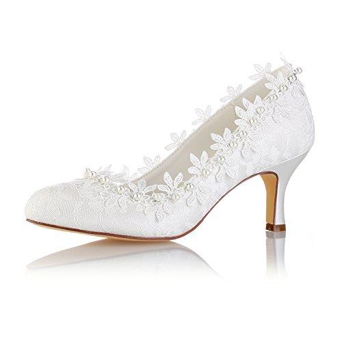 Best 4U® Zapatos De Boda De Las Mujeres De Encaje Primavera Verano 6.5 CM Tacones Altos Novia Perla De Punta De Goma Sandalias De Noche Zapatos De Banquete Stiletto Blanco,EU40