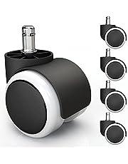 5x harde vloer wielen met PVC hoes geruisloos & krasvrij - universele bureaustoel wielen ideaal voor parket, laminaat, tegels & stenen vloeren (10 x 22 mm, Wit)