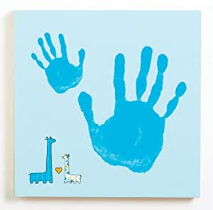 Pearhead Baby and Me Handprint Canvas Kit, Blue Giraffe (Discontinued by Manufacturer)