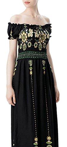 Jaycargogo Womens Print Shoulder Dresses The Slim Off 2 Swing Leisure Floral 6CqOdpr6w
