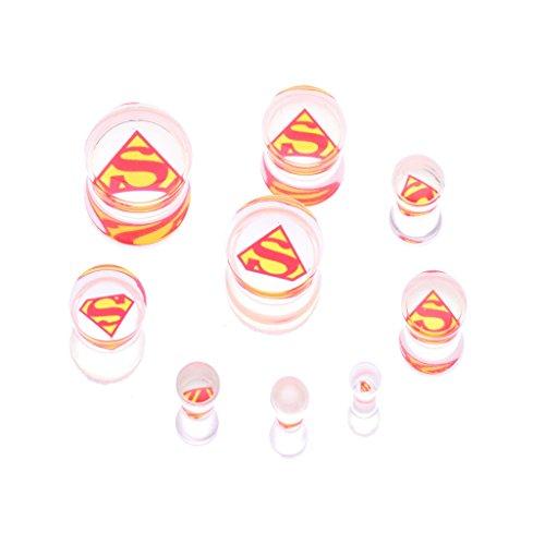 16 Inch Acrylic Plugs (IPINK Superman Acrylic Screw Fit Plugs Screw Flesh Tunnel Ear Plug)