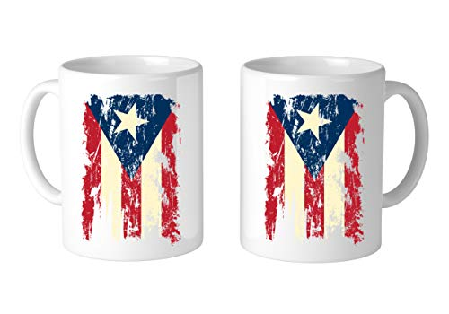 SpiritForged Apparel Vintage Distressed Puerto Rico Flag 11oz White Coffee Mug (2 Mugs)