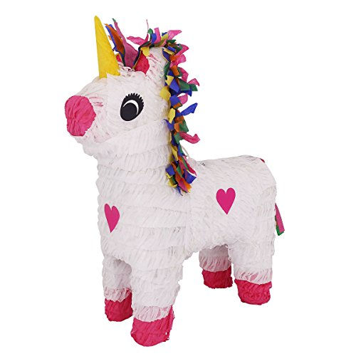Lytio Unicorn Pinata Full White with Multi Color Hair and Pink Heart Details (Piñata)