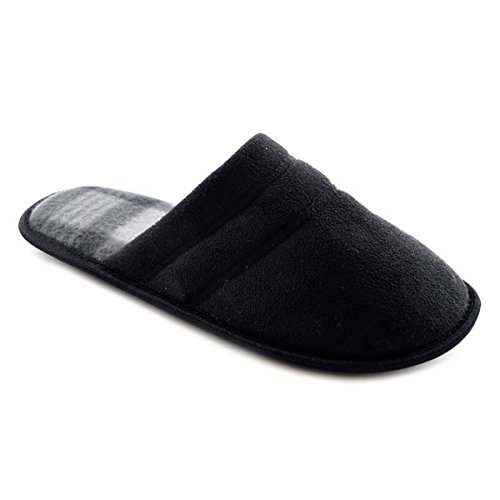 SlumberzzZ Men's Microfibre Double Stitched Inner Check Lined Mule Slippers, Black, Size UK 8