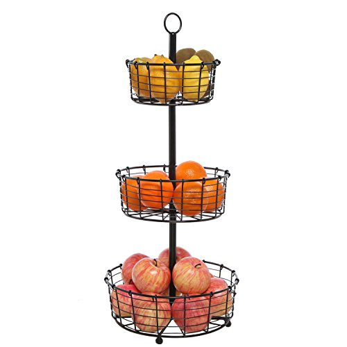 Openwork Basket (Decorative Openwork Black Metal Wire 3 Tier Round Basket Shelf Storage Organizer Display Stand Rack)