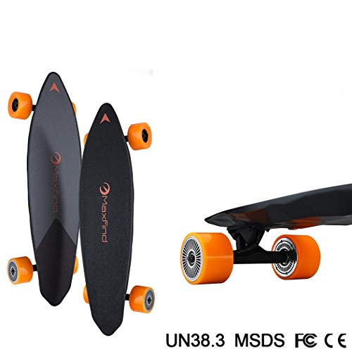 WUS Four-Wheel Electric Skateboard,Integrated Longboard,with Remote Control,Fiber Polymer Lithium Battery,High-Strength Composite Deck,38Km/H,Double Drive