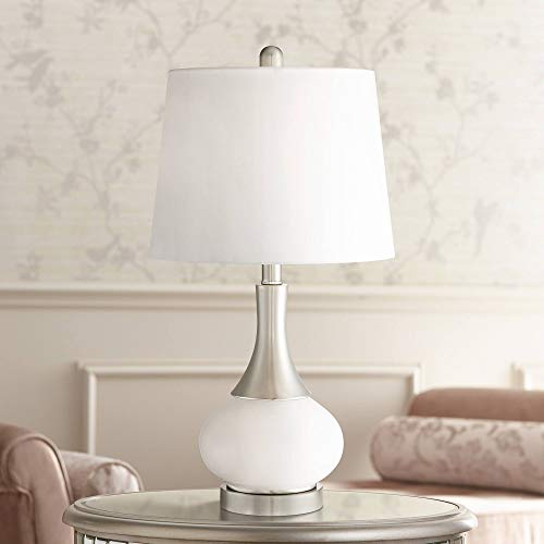 Serrena Modern Accent Table Lamp with Nightlight White Glass Brushed Steel Drum Shade for Living Room Family Bedroom - 360 Lighting