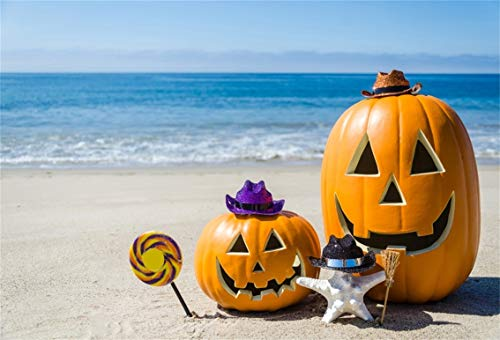 Leyiyi 9x6ft Seaside Halloween Holiday Backdrop Sunny Tropical Sand Beach Autumn Pumpkin Lantern Witch Hat Starfish Lollipop Photography Background Costume Carnival Photo Studio Prop Vinyl Wallpaper ()