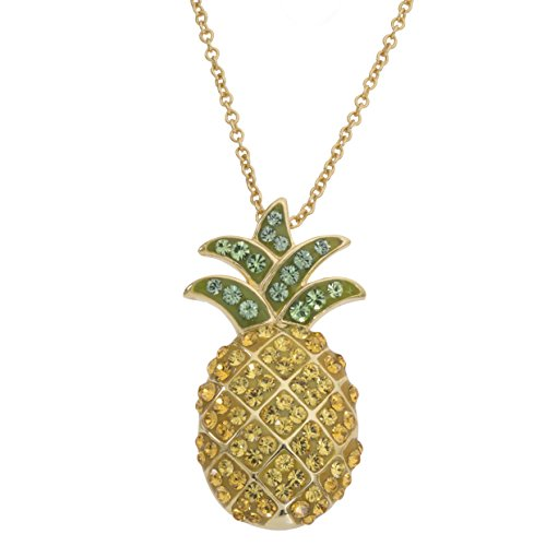 Crystalogy Yellow Gold Plated Sterling Silver Crystal Pineapple Pendant Necklace, 18