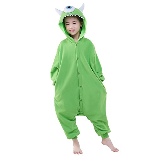Newcosplay Halloween Unisex Animal Pyjamas Child Cosplay Costume (95, Michael Wazowski)