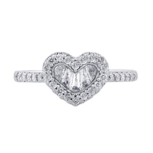 (1/2 Carat Natural Diamond Ring 10K White Gold (J-K Color, I1-I2 Clarity) Heart Shape Diamond Ring for Women Diamond Jewelry Gifts for Women)