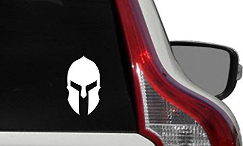 (Spartan Helmet Version 7 Car Vinyl Sticker Decal Bumper Sticker for Auto Cars Trucks Windshield Custom Walls Windows Ipad Macbook Laptop Home and More (WHITE))