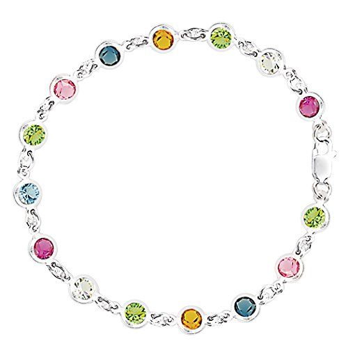 Multi Colored Round Shaped CZ Anklet In Sterling Silver, 10