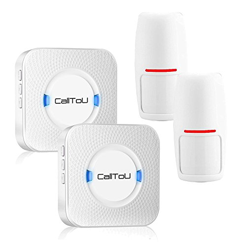 CallToU Wireless Motion sensor Entrance Entry Chime Driveway Door Alert Chime Alarm Long Range 2 Receivers + 2 PIR Sensors