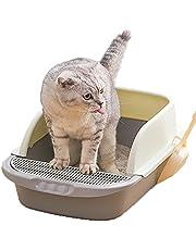 NeoStyle Semi-enclosed Cat Litter Box With Round Edges Large Anti-splash Box With Cat Litter Shovel Cat Sandbox Cat Toilet (Large)